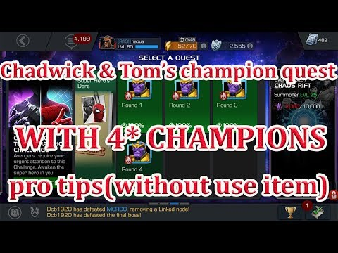 CHADWICK AND TOM'S CHAMPION CHALLENGE PRO TIPS (WITH 4 STAR CHAMPION) marvel contest of champion