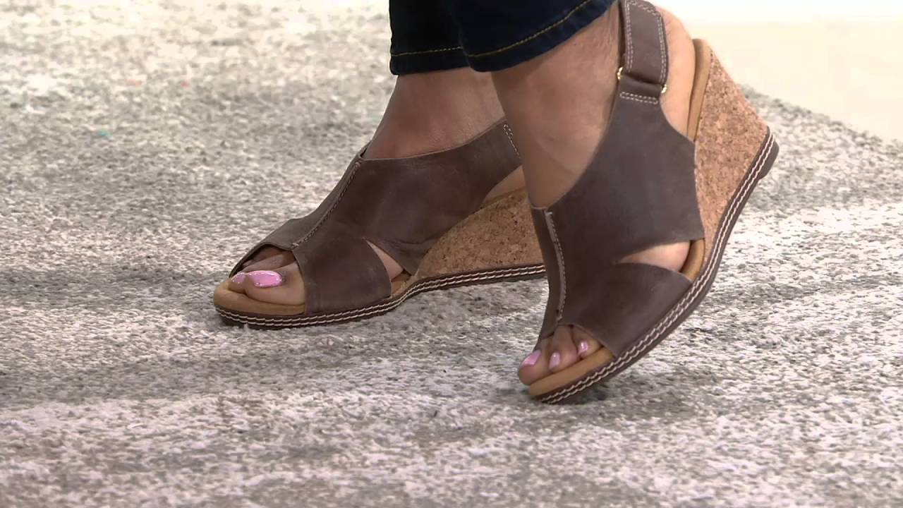 125517f2a42930 Clarks Nubuck Wedge Sandals with Backstrap - Helio Float on QVC ...
