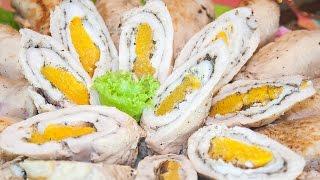 Рулетики из куриного филе с персиком в вине – Коллекция Рецептов