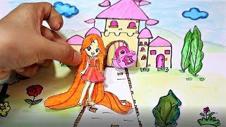 PAPER DOLL BEAUTY LONG HAIR WITH LOCK KEY COLORS PAPER HANDMADE