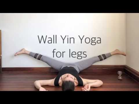 yin yoga at the wall for flexible legs  full sequence
