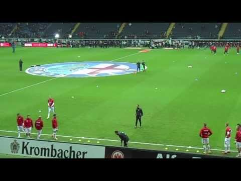 FC Augsburg pre-match warm-up at Commerzbank Arena Frankfurt
