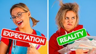 BACK TO SCHOOL EXPECTATION VS REALITY || Funny Situations by 123 GO!