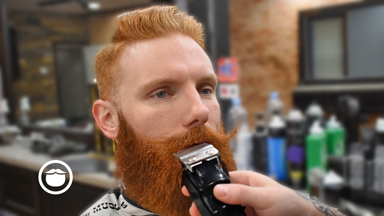 Massive Beard Straightening Trim With Old School Side Part Haircut