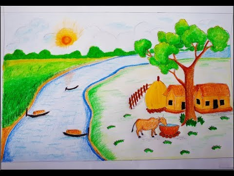 How To Draw A Natural Scenery Of Village Step By Step!