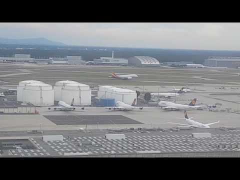 Asiana A380 Take-Off in Frankfurt | Filmed from landing A319