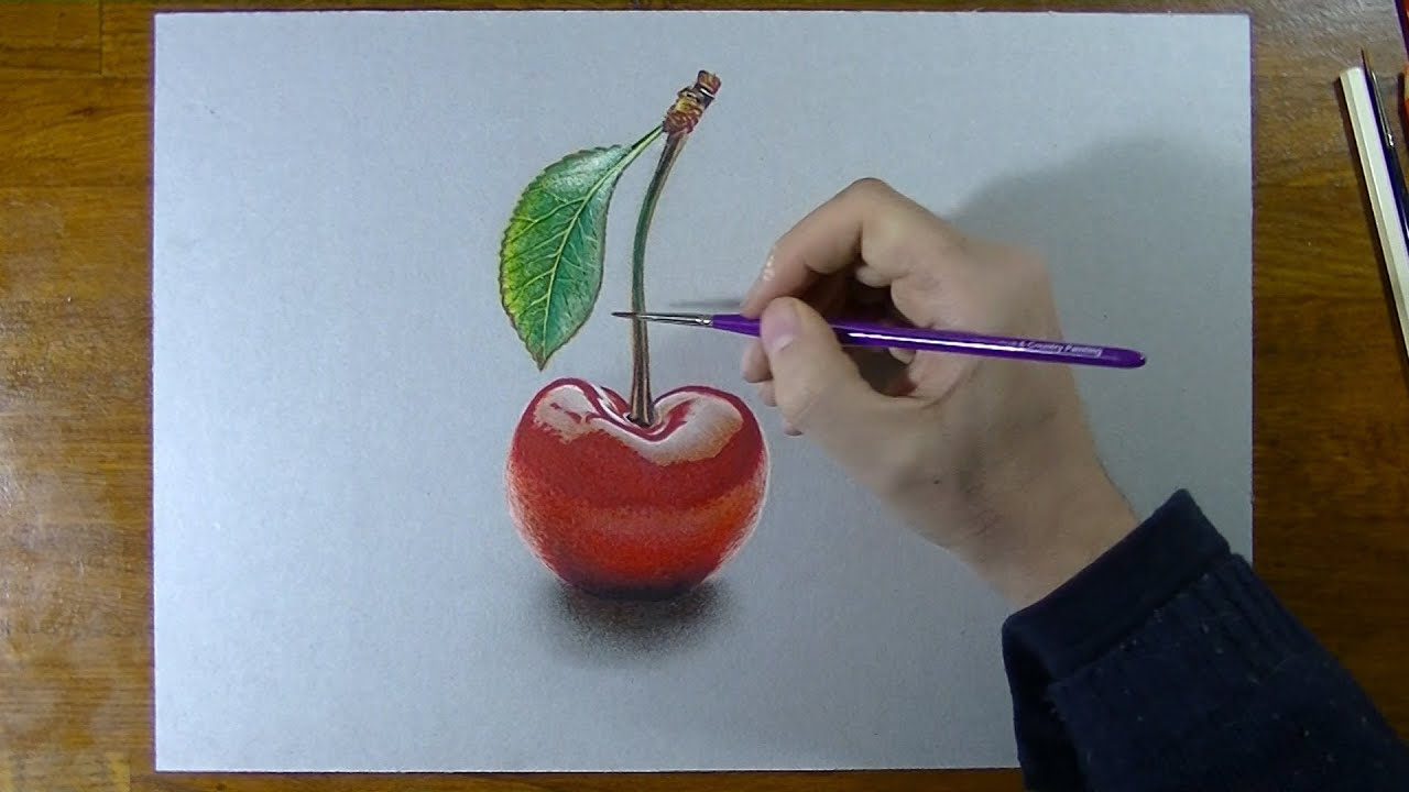 How to draw a nice cherry - YouTube