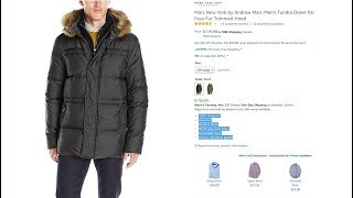 Marc New York by Andrew Marc Men's Tundra Down Parka with Fleece Bib, Faux Fur Trimmed Hood