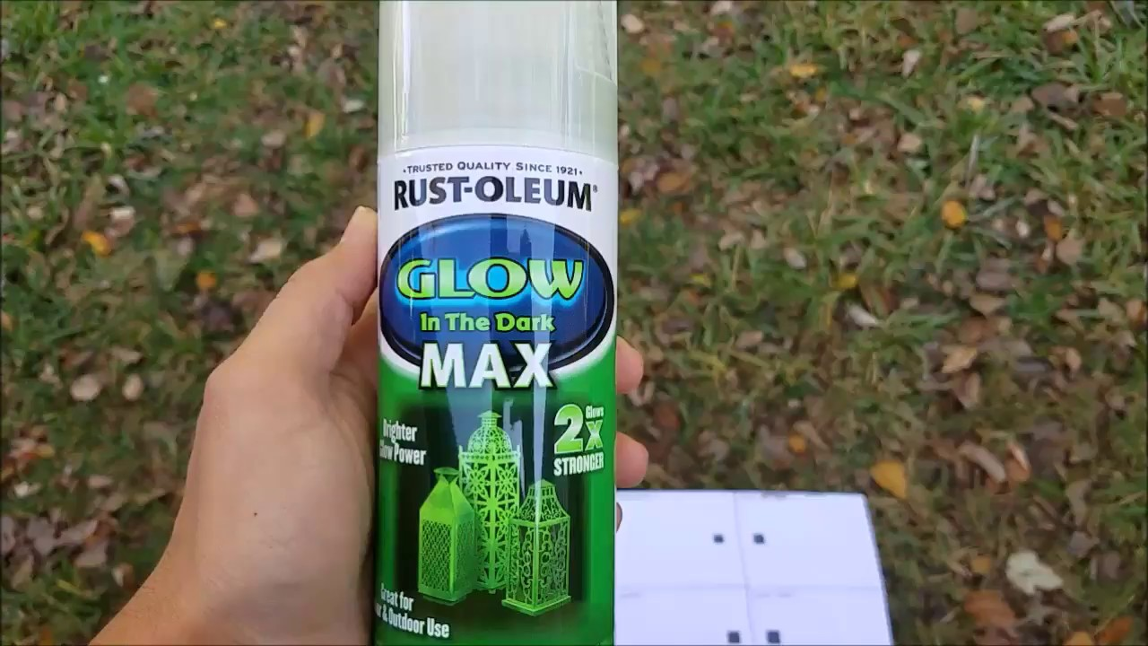 Test and Review: RustOleum Glow In The Dark MAX 2x - YouTube Exterior Glow In The Dark Paint on glow in the dark glass, crackle paint exterior, blue paint exterior, orange paint exterior, charcoal paint exterior, waterproof paint exterior, glow in the dark boats, pink paint exterior, green paint exterior, glow in the dark tires,