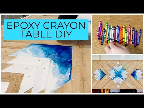 Melting Crayons Epoxy Table DIY