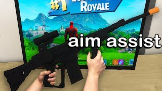 I Played Fortnite on an ASSAULT RIFLE Controller and WON (aim assist)
