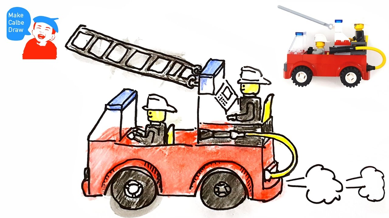 how to draw a fire truck for kids with lego fire truck youtube