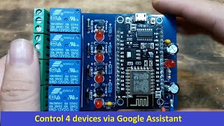 Control 4 devices via Google Assistant, Mobile Internet and Wireless Internet,Arduino  Tutorial