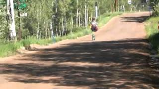 Jo Ann Riding Diggler Dirt Dawg Mountain Scooter Down Vail Mountain 6-29-2014