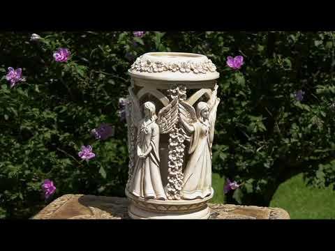 Four-Sided Solar Angel Garden Lantern with Timer on QVC