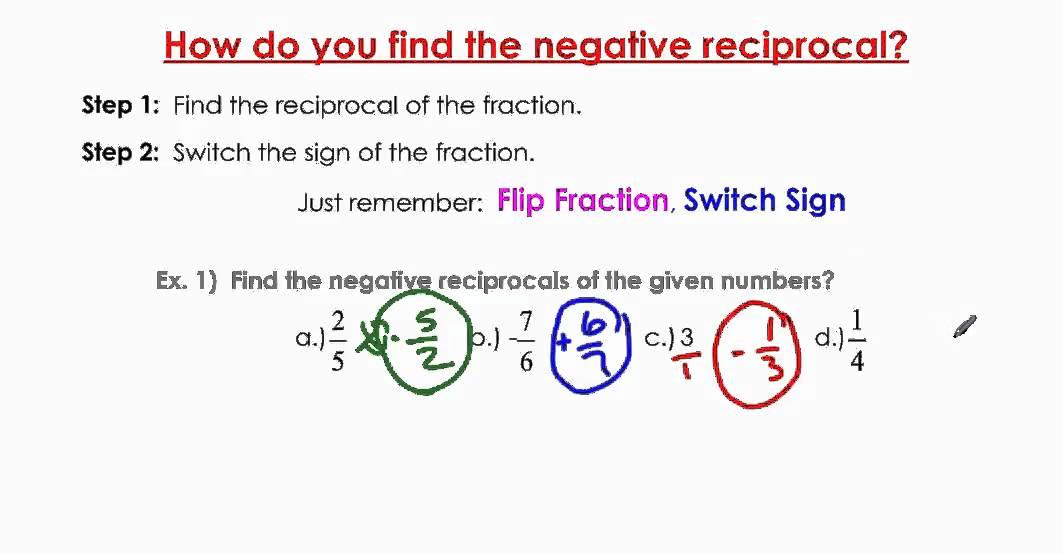 perpendicular lines negative reciprocal