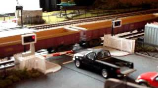 Express Models Level Crossing in operation