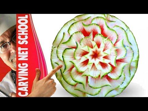 Lesson 3, Carving, การแกะสลักผลไม้, 水果雕刻, Ukiran buah, 果物のカービング, Khắc trái cây, naik ukiran, 조각 장미