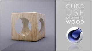 Cube use material wood - Cinema 4D Tutorial