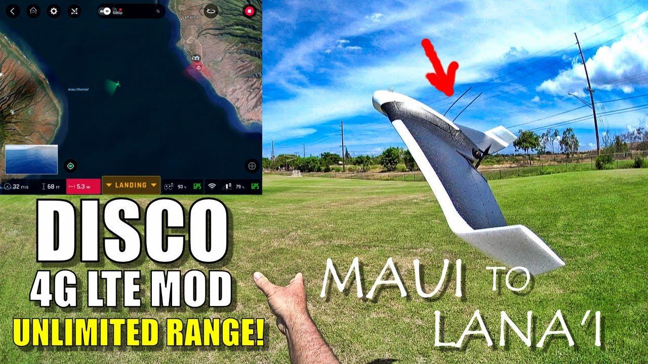 Parrot DISCO Unlimited Range! 4G LTE + Li-Ion Mod - 25 Mile MAUI to LANAI Manual Flight ????????
