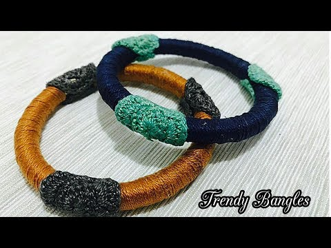 How to make Cotton thread bangles decorated with crochet work/recycle old bangles/