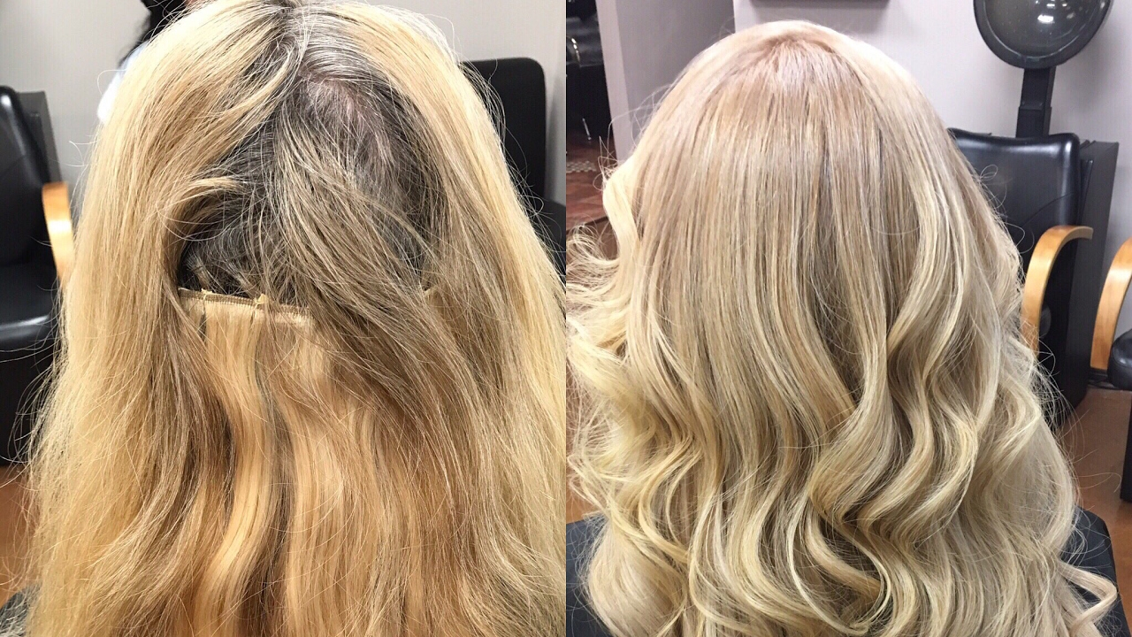 Hair Extension Transformation Color Retouch And Partial Highlights