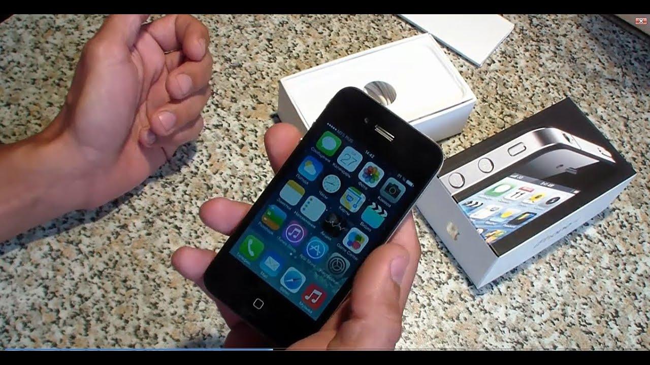 Восстановленный Айфон iPhone 4 оригинал с Алиэкспресс из Китая .