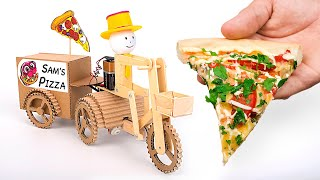 DIY Cardboard Pizza Delivery Guy On A Bike That Moves
