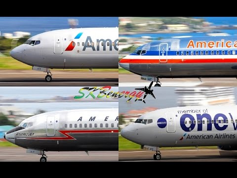 (4) Four Different Livery Departures, American Airlines 737-800 Action @ St. Kitts !!!!