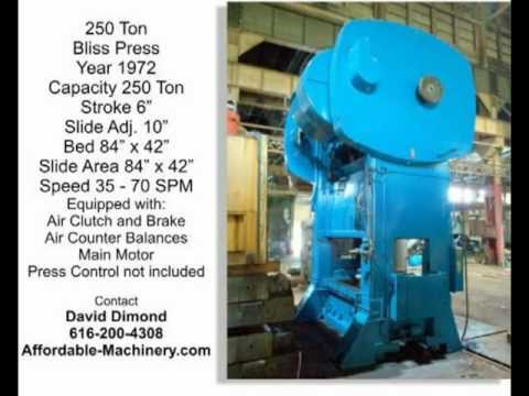 Used 250 Ton Bliss Metal Stamping Punch Press Possibly for 200 to 300 Ton Jobs
