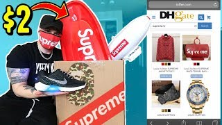 WHAT HYPEBEAST ITEMS CAN $100 BUY YOU ON DHgate! AND UNBOXING THEM. SUPREME, YEEZYS, BAPE ETC.