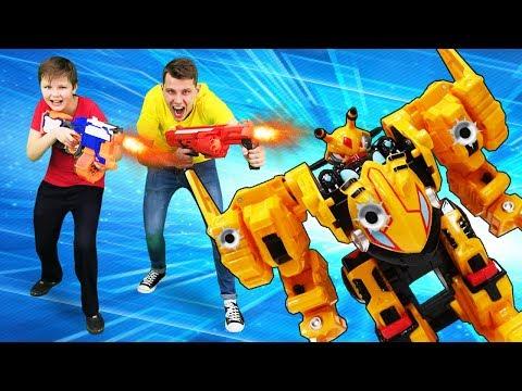 Видео игры гонки – Монкарт Васпер против бластеров Нерф! – Новое видео.