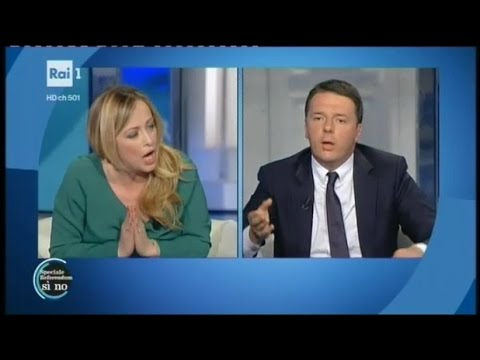 Duro confronto tra Giorgia Meloni e Matteo Renzi - Porta a Porta