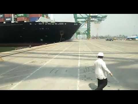 CMA CGM Neopanamax container ship collided with pier, Mumbai seamanfan.com
