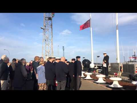 Armistice Day service at the Royal Naval Patrol Service memorial on Grimsby docks.
