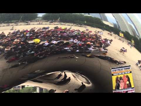 "Black Renaissance group Eephus with Chicago locals today for Black Lives Matter rally  at ""The Bean"""