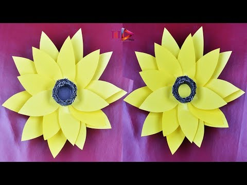 How To Make a Giant Paper Sunflower Tutorial Very Easy | DIY Paper Large Flower Backdrop