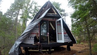 #13  Off Grid A-frame Cabin Build - Finishing The Framing And Installing Front Door!