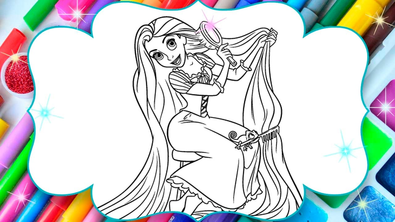 Rapunzel Disney Coloring Pages By Magic Book For Kids