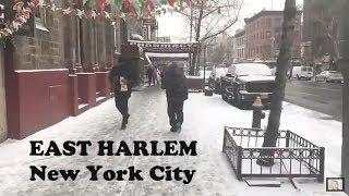 """Light Snow on East 116th Street, East Harlem (""""El Barrio""""), Manhattan"""