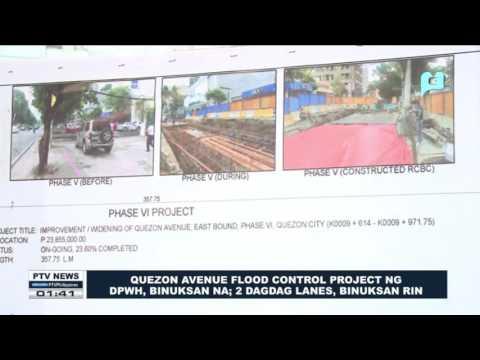 Quezon Avenue Flood Control Project ng DPWH, binuksan na; 2 dagdag lanes, binuksan rin