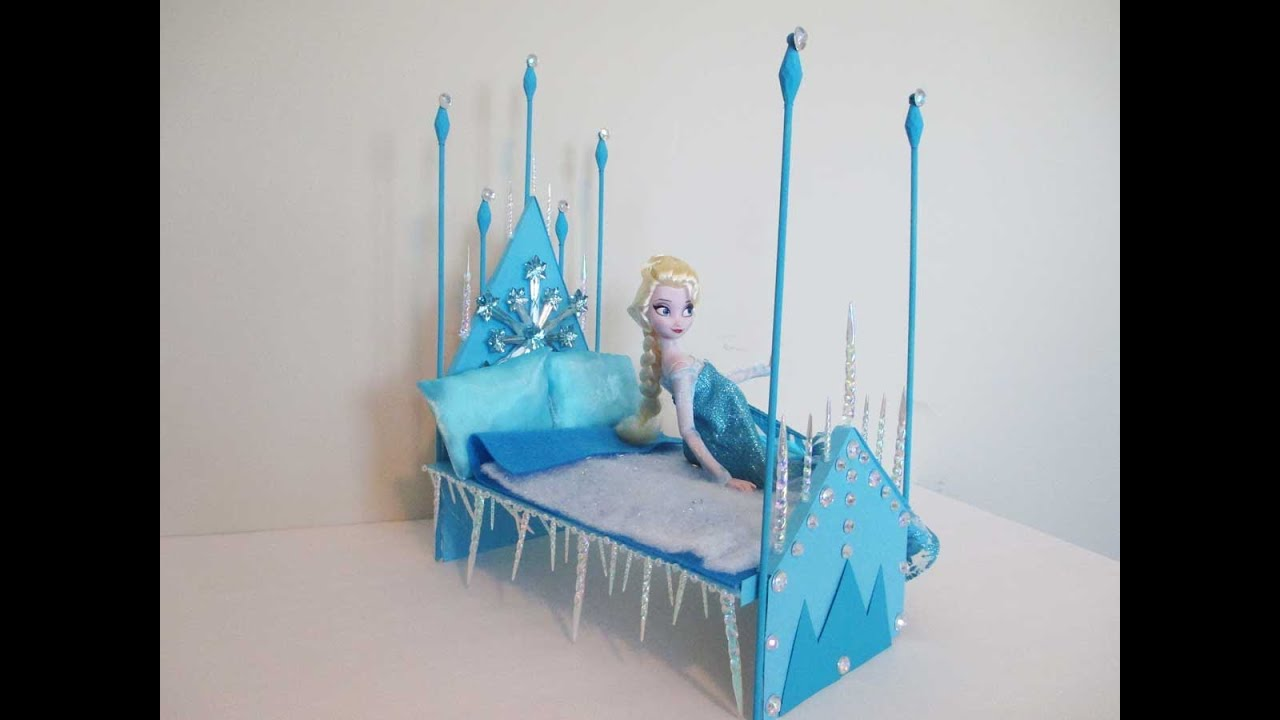 How To Make A Elsa Doll Bed Tutorial/ Disney Frozen   YouTube