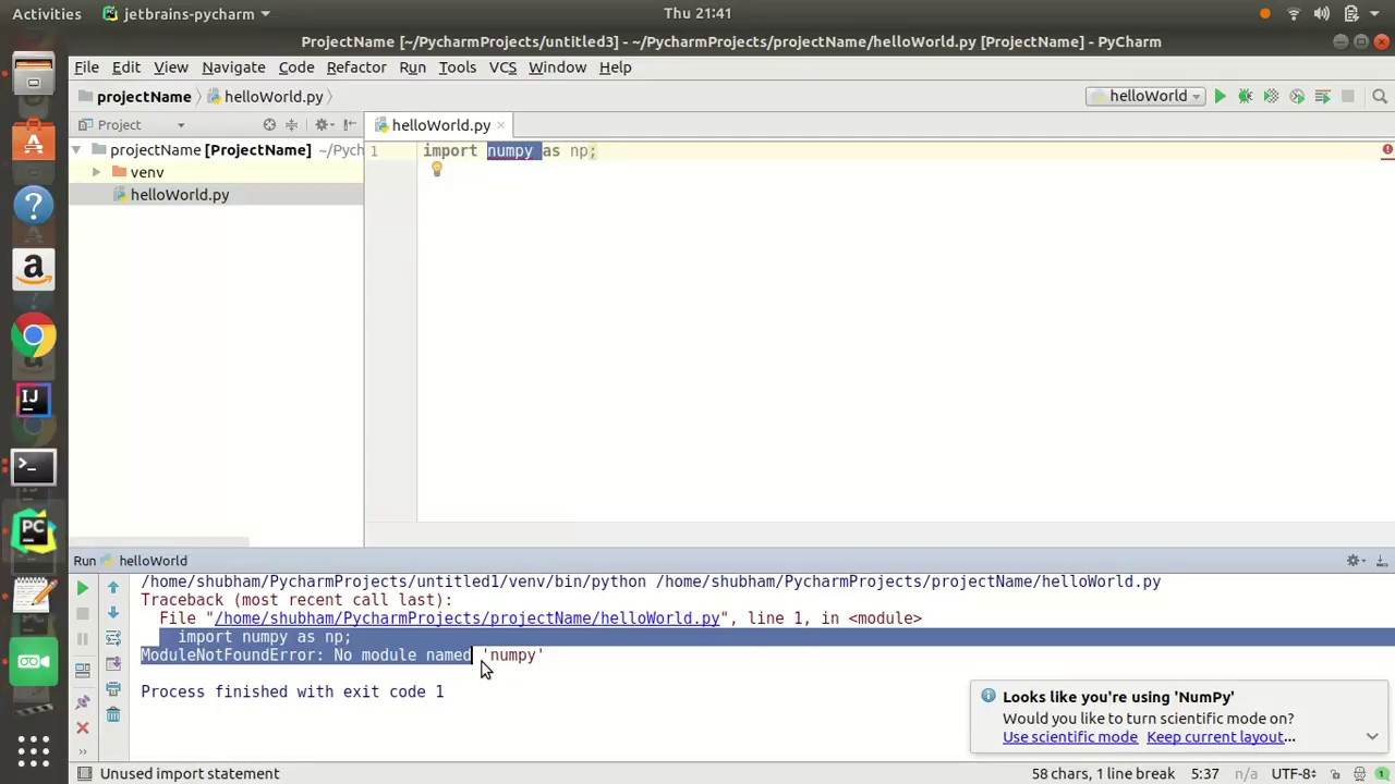 how to install numpy package in pycharm ? SOLVED !!!