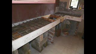 Barra de cocina en porcelanato y cemento empotrada.  (parte 1)  / DIY kitchen bar
