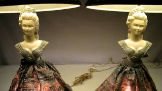 Vintage Southern Bell Half Doll Lady Boudoir Table Lamps W/ Shade