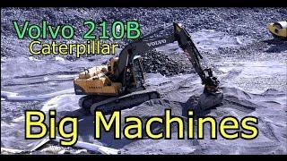 Volvo 210B Excavator-Scania truck Big Machines at work. Häpesuon kaatopaikka