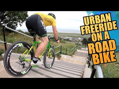 URBAN MTB FREERIDE ON A CARBON ROAD BIKE!