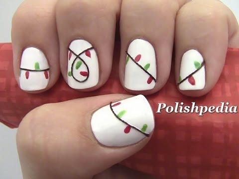 Christmas Lights Nail Art - YouTube