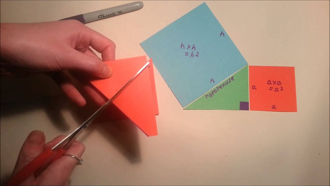 hight resolution of Pythagoras' theorem and proof (cut-out demo) - YouTube