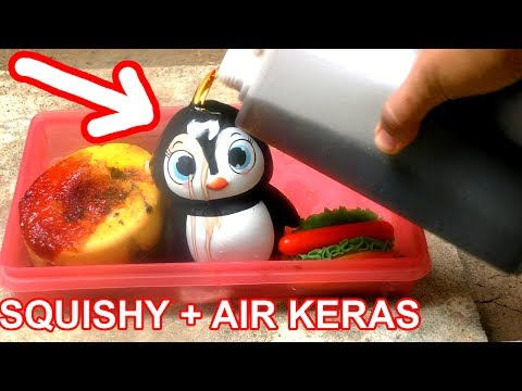 EKSPERIMEN SQUISHY DI SIRAM AIR KERAS |  SQUISHY EXPERIMENT